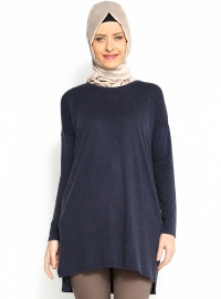 Gizli Cepli Tunik - Lacivert- Moonlight
