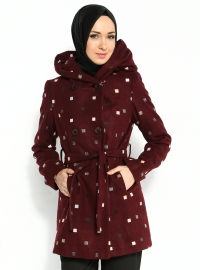 Desenli Kaban - Bordo - İroni