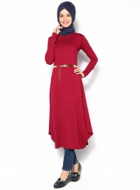 Dore Kemerli Tunik - Bordo- Moonlight