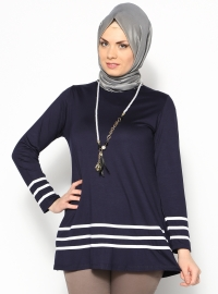 Kolyeli Tunik - Lacivert - Shine Collection