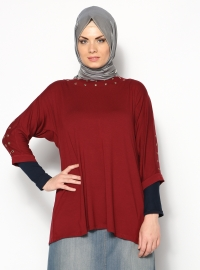 Zımba Detaylı Bluz - Bordo - Shine Collection
